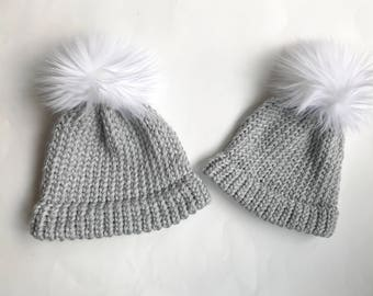 Mommy and me fur pom pom hat set
