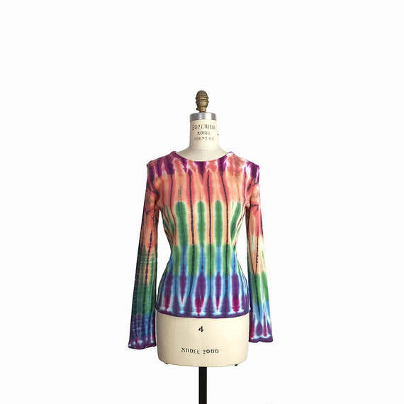 Vintage 90s Rainbow Tie-Dye Top / Ribbed Knit Top / Long Sleeve Shirt  - women's small