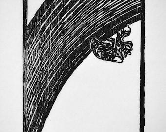 "Iris Cicada, hand carved woodblock print, 5""x7"""