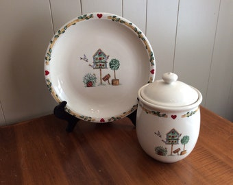 Thomson Pottery~Birdhouse by Thomson~Large Canister and Platter~Birdhouse Kitchen Canister