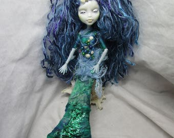 Mermaid, restyled Monster High art doll , One of a kind,