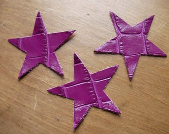 set of 3 small stars purple crocodile leather