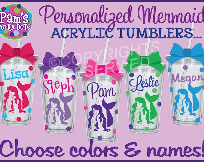 Personalized MERMAID ACRYLIC TUMBLER with Name & Polka Dots Your Color Choices Summer Beach Destination Wedding Bride Bridesmaid