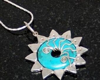 turquoise necklace silver star pendant crystal healing handcrafted artisan design