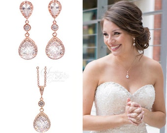 Bridal jewelry etsy rose gold bridal jewelry set earrings necklace wedding jewelry teardrop dangle pendant classic bridesmaid gifts bridal set junglespirit Image collections