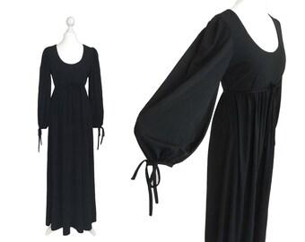 Gina Fratini Maxi Dress | Designer Dress | 1970's Vintage Dress | Long Black Dress With Bishop Sleeves