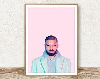 Drake Print - Hip Hop Print Drake Poster Drake Wall Art Decor Drake Art Drake Party Hotline Bling Drake Card Hip Hop Wall Art Hip Hop Poster