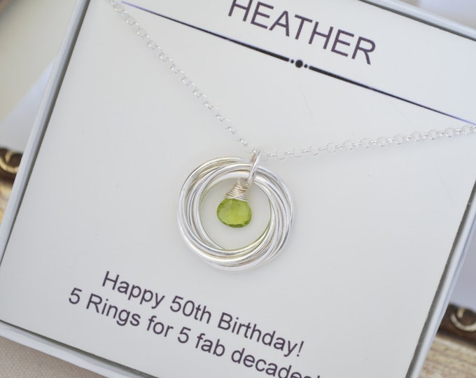 50th Gift for wife, 5th Anniversary gift for her, Family of five, 50th Gift for women, Peridot jewelry, August birthstone jewelry