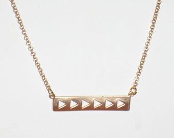 Satin Hamilton Gold Bar with Triangle Cutouts Gold Chain Choker