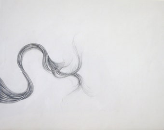 Fine Art Drawing, Graphite Hair, Elegant Unique Design, Hand Drawn Original Drawing,