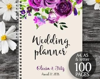 Plum wedding planner, Printable wedding planner, Wedding printable binder, Wedding book, Printable wedding organizer, To do wedding list