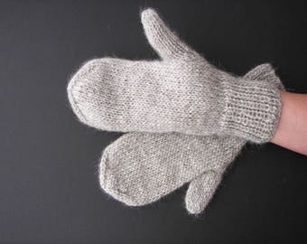 Hand Knit ICELANDIC Lopi WOOL Mittens in Gray or White/ Thoughtful Gift