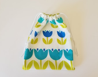 Drawstring Gift Bag Snack Sack All Purpose Reusable Pouch Blue Flowers
