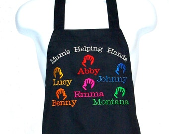 Mum Apron, Helping Hands, Personalize With 5-7 Kids Names, For Nana, Mimi Ma, Mammy, Custom Grandparent Birthday Gift, Ships TODAY, AGFT 720