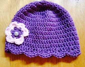 Lavender baby hat with pink/lavender flower and pearl button for newborn to 3-month old baby