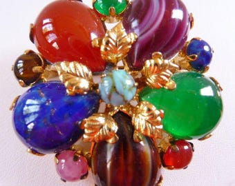 vintage signed Austria brooch pin   vintage jewelry   glass art cabochons   gold plate   faux lapis tigers eye jade carnelian