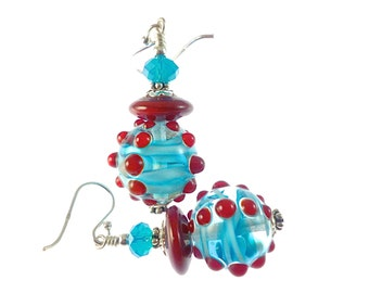Red Lampwork Earrings, Glass Bead Earrings, Beadwork Earrings, Dangle Earrings, Lampwork Jewelry, Turquoise Blue Earrings, Beaded Earrings