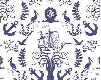 Nautical Baby Bedding Set- Changing Pad Covers /Anchor Nursery / Fitted Crib Sheet / Mini Crib Bedding/ Navy Crib Bedding /Boys Cot Sheets