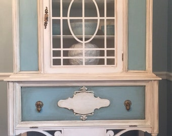 Vintage china cabinet, Jacobean curio cabinet, shabby chic hutch, hand painted furniture