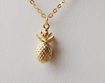 Pineapple Necklace, Gold Pineapple Necklace.