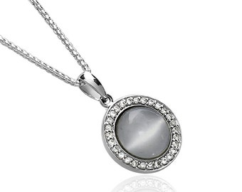 Moonstone Pendant Necklace, Round Cabochon Moonstone, set in 925 Sterling Silver AEP5012