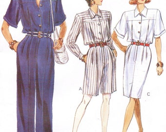 1980s Womens Jumpsuit in 2 Lengths or Dress Vogue Sewing Pattern 7454 Size 6 8 10 Bust 30 1/2 to 32 1/2 UnCut Vintage Sewing Patterns