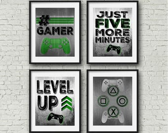 """SET OF FOUR Video Game Posters - Green - 8x10""""- A4 - Playstation Controller - PS4 - Gamer - Teen boy bedroom - game room wall art - PS4"""