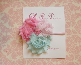 Aqua and pink tri-flower headband/ newborn headband/ baby headband