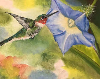 Hummingbird with Blue Flower Oil Painting, Wall Decor, Morning Glory, 9x12