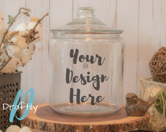Glass Container Mockup, Large Glass Canister Jar with Lid, Cookie Jar, Farmhouse, Rustic, White, Home & Kitchen, Styled Stock Photo, SVG