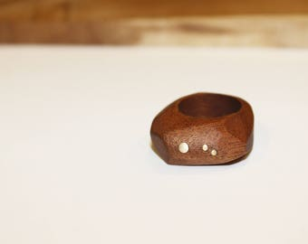 Wooden Ring, Cherry Wood Ring, Signet Hippie Rings, Wood Jewelry, Valentine Gift for Her, Women Wooden Rings, Statement wood Ring For Women