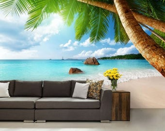 paradise ocean wallpaper, sea wall mural, tropical beach wallpaper, tropical wallpaper, palms wallpaper, sea emerald wallpaper, coast sea