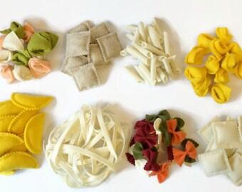 Felt Pasta Set of 8, Felt Food, Play Food, Noodles, Ravioli, Bow Tie, Penne