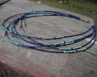 turquoise, lapiz lazuli , garnet and pearl beaded necklace