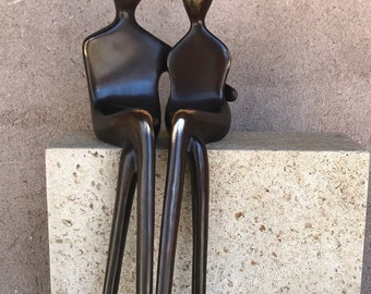 Warm Embrace | Bronze Sculpture | Contemporary Art for Home Decor | Cast Bronze Figurines | Loving Couple | Designed by Yenny Cocq
