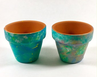 Set of Mini 2.5inch Bright, Turquoise-Pink, Textured, Splattered Succulent & Cactus Planters