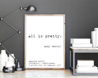"""Andy Warhol """"All is pretty"""" Print Wall Art 