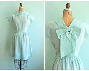 Vintage 1950's Pastel Blue Floral Dress | Size Small