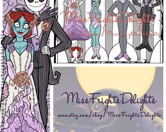 NBC Jack and Sally Inspired Wedding Paper Doll - Instant Download Printable - inspired Nightmare Before Christmas Party Favor Skellington