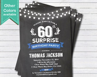 40th birthday invitation woman surprise 40th birthday invite surprise 60th birthday invitation man woman retro chalkboard blue adult 16th 21st 60th 70th 80th 90th birthday printable invite ab102 filmwisefo