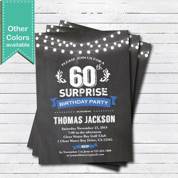Surprendre le 60e invitation anniversaire. Homme femme.