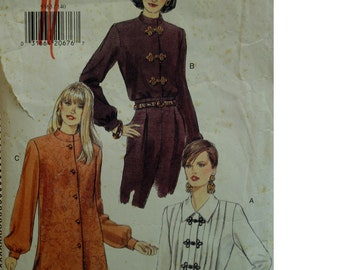 High Collar Blouse Pattern, Tunic, Button/Frog Loop Front, Long Sleeves, Cuffs, Pleated Front, Long, Side Slits, Vogue No.9163 Size 14 16 18