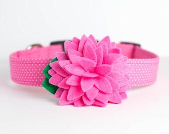 Spring Easter Dog Collar with Flower - Pink Polka Dot