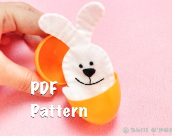 Easter Toy Funny Little Bunny Felt Finger Puppet PDF Pattern Free How To