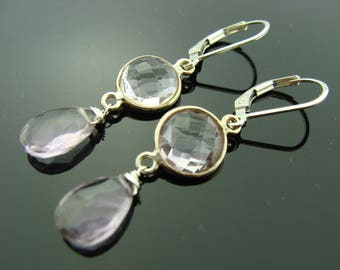Bezel Set Amethyst Sterling Silver Leverback Earrings