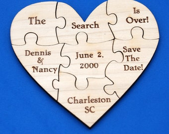 Custom Save the Date Puzzle - Heart, 7 PC - Engraved - Pregnancy Announcement Puzzle - Baby Reveal - Gender Reveal