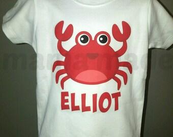 Boy's Summer Shirt, Boy's Crab Shirt, Red Crab Shirt, Orange Crab Shirt, Beach Shirt,Summer Vacation Shirt, Boy's Beach Trip Shirt, Crab Tee
