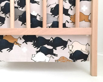 Crib Skirt Buffalo Stampede. Baby Bedding. Crib Bedding. Crib Skirt Boy. Baby Boy Nursery. Buffalo Crib Skirt. Navy Crib Skirt.