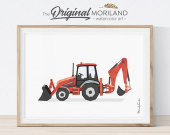 Backhoe Loader, Digger Wall Art, Construction Art Print, Prints for Boys Room, Transportation Wall Art, Playroom Print, Birthday Printable