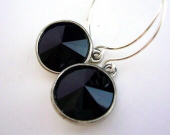 Black Rivoli Swarovski Crystal Drop Earrings on Sterling Silver Handmade by Estylo Jewelry
